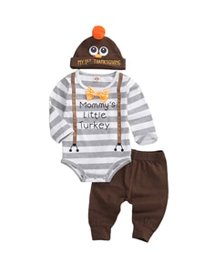Infant Thanksgiving Romper+ Trousers+ Hat, Cartoon Animal Pattern Long Sleeve Bow Decoration Festive Clothing