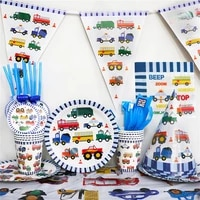 engineering vehicle theme disposable cutlery kids party supplies cartoons car decoration for birthday girl kids party cake stand