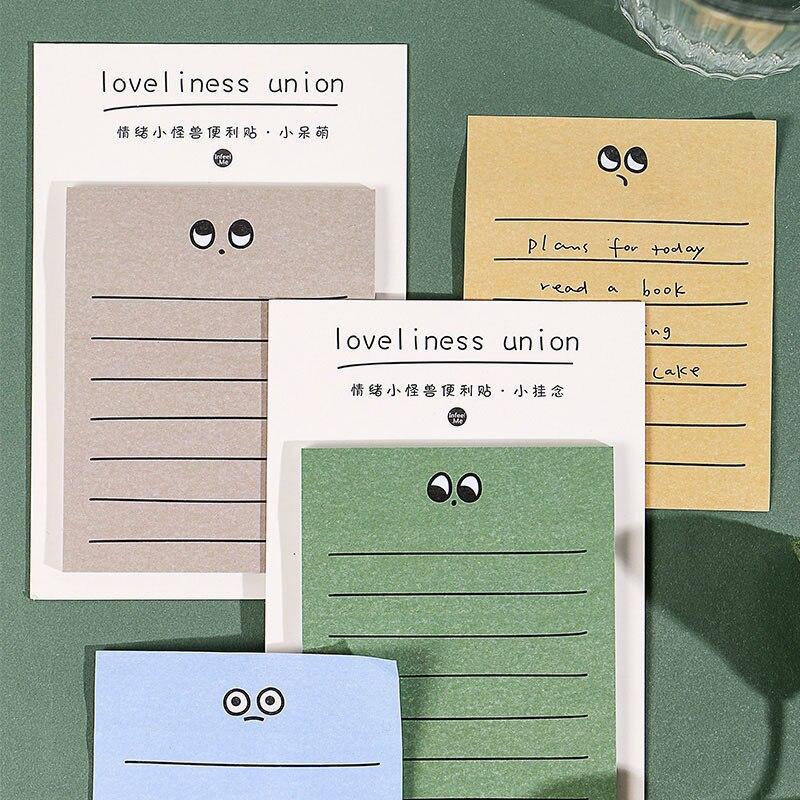Bloc de notas adhesivas con diseño de monstruo Kawaii, Bloc de notas de planificación para niños, papelería DIY, útiles para escuela y oficina