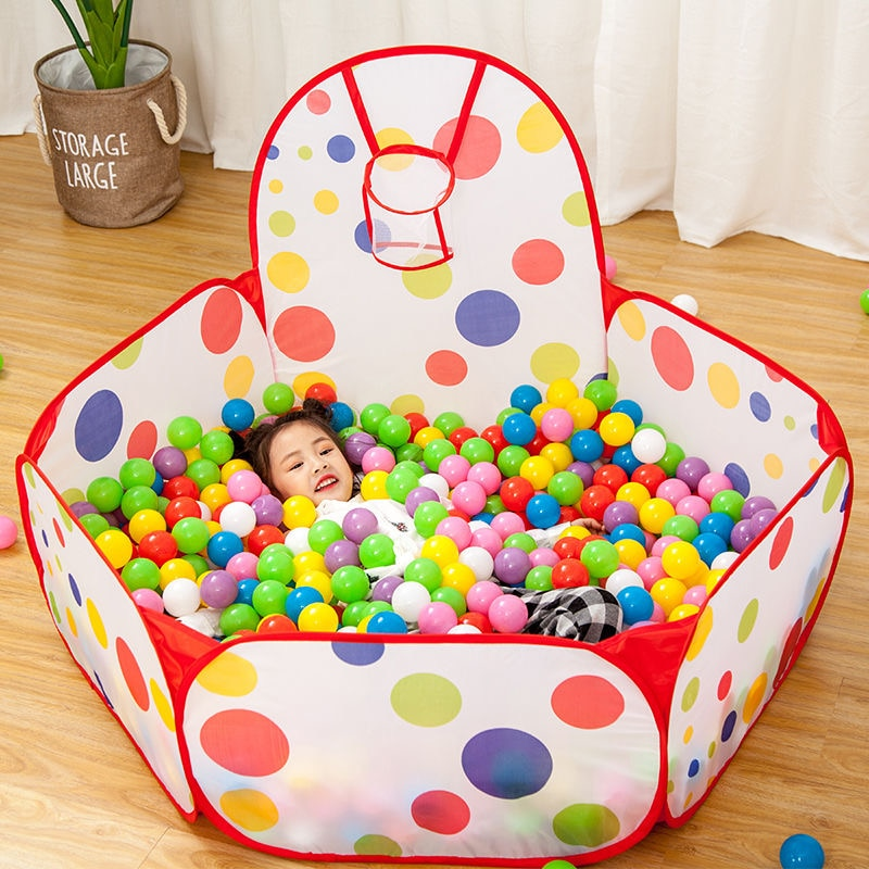 1.5M Portable Baby Playpen Children Ball Pit with Basketball Hoop Kids Dry Ball Pool Folding Indoor Outdoor Ballenbak Toys