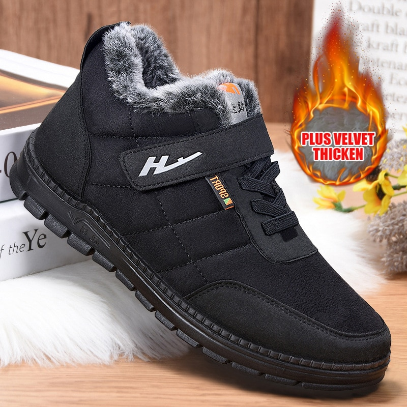 surom brand men s boots big size warm plush male leather shoes work boot warm fur winter casual snow sneakers mens ankle boots Winter Men Boots With Fur Warm Snow Boots Men Work Casual Shoes Sneakers Lightweight Rubber Ankle Boots Sneakers Mens Autumn