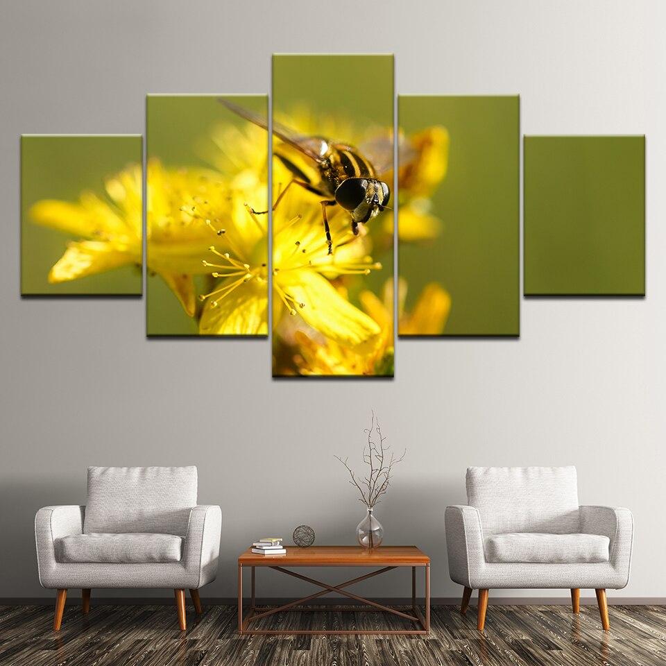 Pinturas en lienzo cuadros de pared decoración del hogar impresión en lienzo abeja en flor amarilla 5 piezas marco Modular de arte Giclee