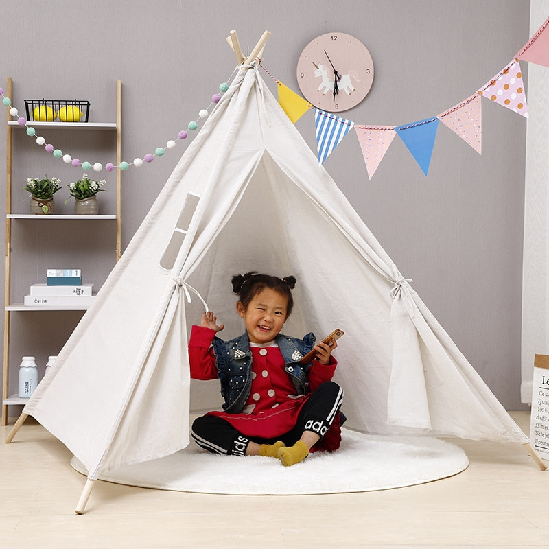 Baby Tents Portable Foldable Game Teepee Cartoon Cute Indian Children's Tent Outdoor Kids Play House Canvas Cotton Triangle Tipi недорого