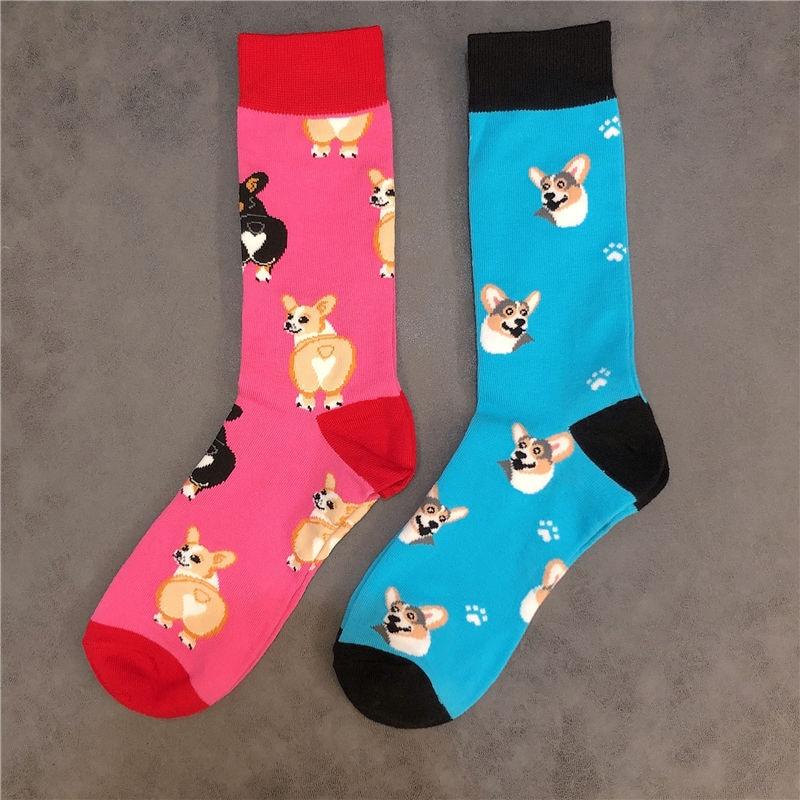 Funny Welsh Corgi Crew Short Ankle Socks Corgis Love Heart Ass Balloon Bum Cotton Lovely Small Pet Furry Japanese Dog Shiba Inu