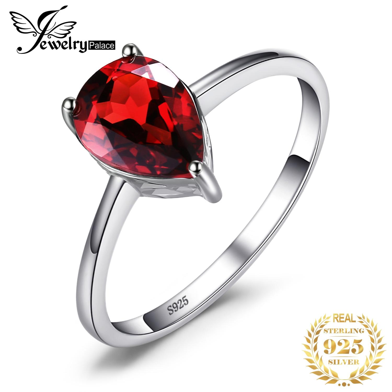 Jewelrypalace капли воды 1.6ct натуральный красный гранат Твердые 925 Серебряные кольца для Для женщин модные вечерние Красивые ювелирные изделия