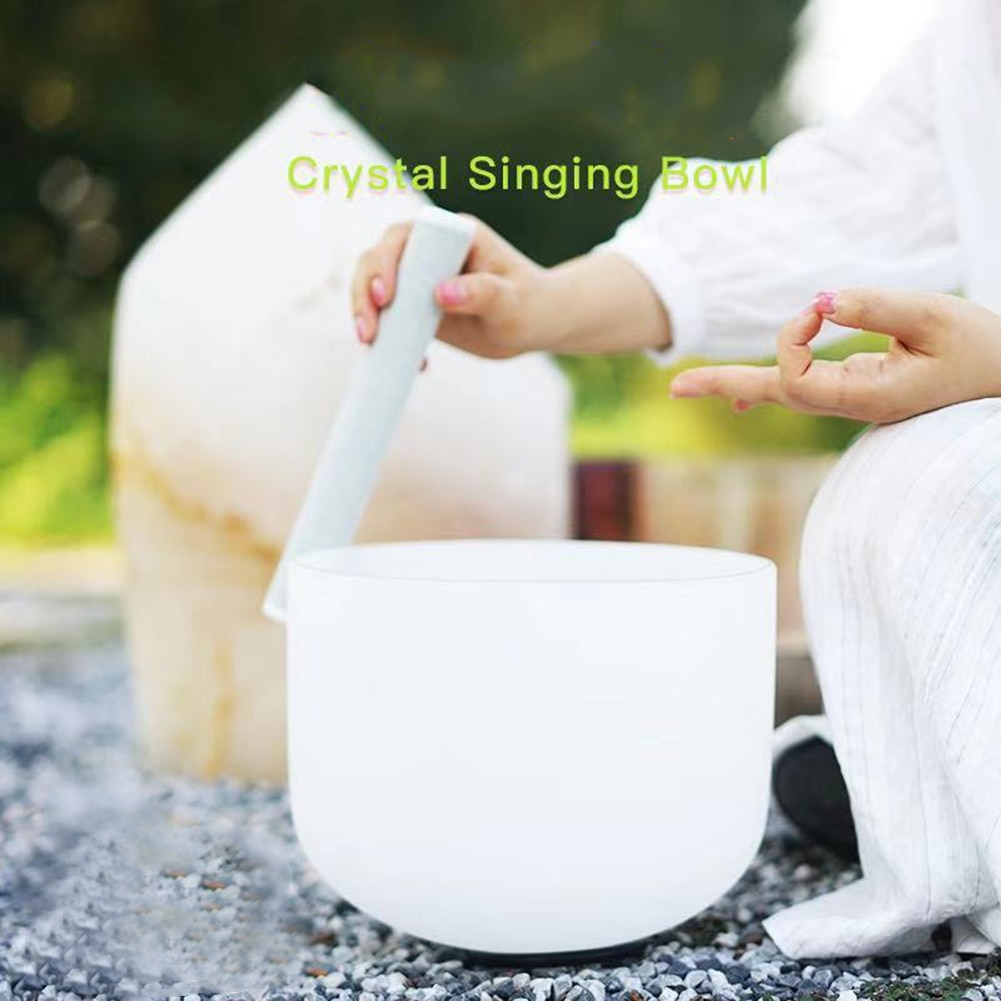 8 inch Singing Bowl Note CFA Chakra Frosted Quartz Crystal Singing Bowl with Carry Bag enlarge