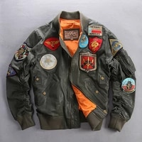 air force mens genuine leather jacket with patches plus size fashion army green pilot flight jacket baseball coat men 6xl