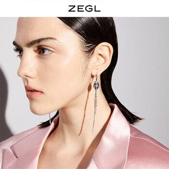 Zegl Designer Picnic Series Personalized Spoon Earrings Female Temperament Long Tassel Earrings 925 Silver Pin Earrings