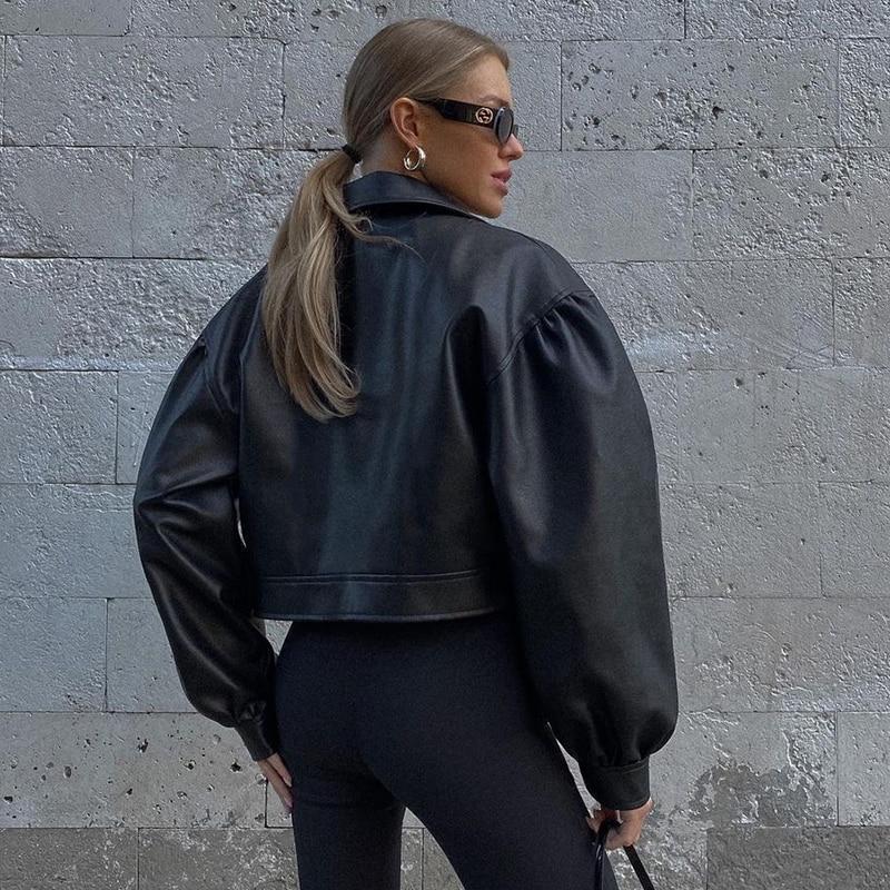 Cool Street Black Leather Jacket Female Windbreaker Turn-down Collar Zipper Cardigan Vintage Outerwear Casual Coat Fall Iamhotty