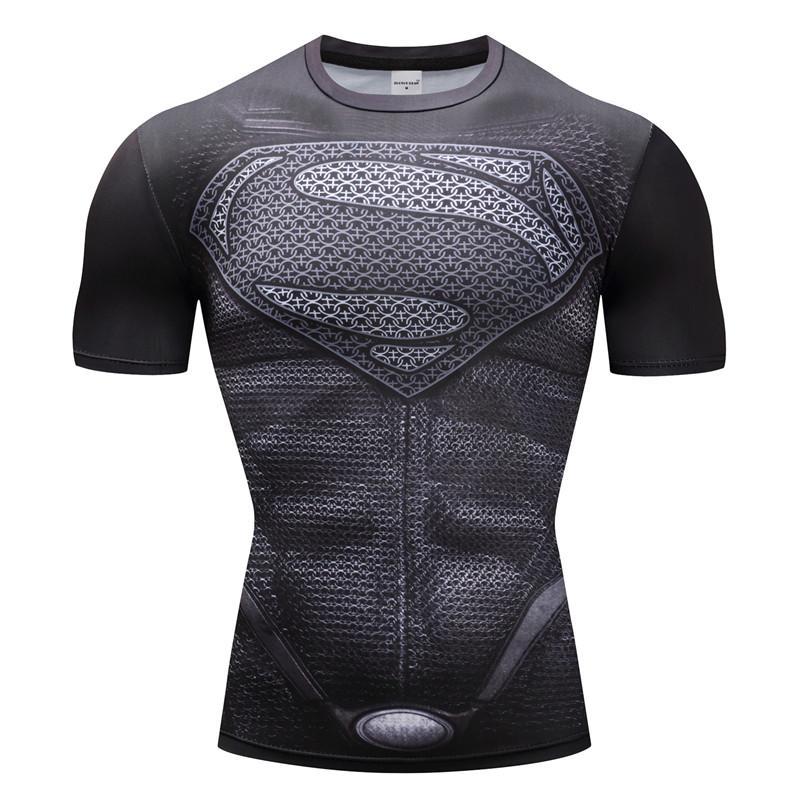 Camisetas de Superman para hombre, camisetas de compresión de Batman, camisetas Flash, Camisetas de Fitness, camisetas de ciclismo, camiseta de lycra
