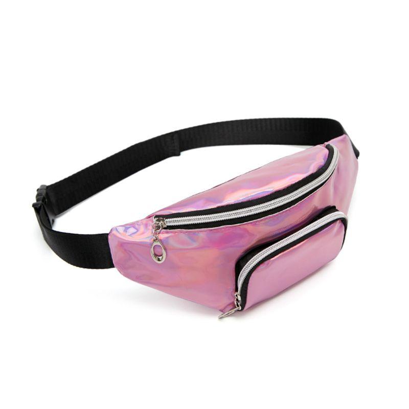 Fashion Holographic Waist Fanny Pack Belt Bag Phone Pouch Travel Hip Bum Shoulder Bags Purse for WoMan Girls