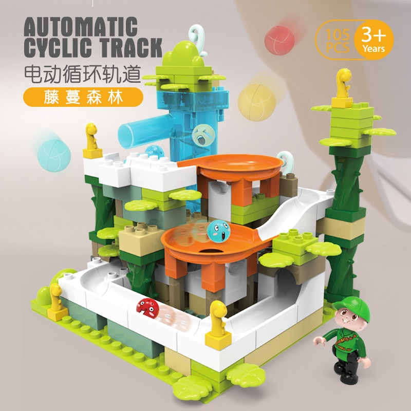 DIY bolas de laberinto de carrera de mármol pista bosque bloques de construcción ladrillos educativos compatibles con DuploED Toy