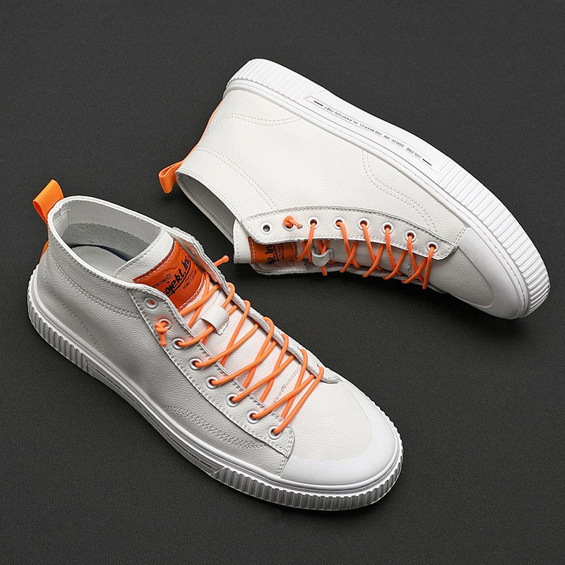 2021 Autumn and Winter New Korean Men's Casual High-top All-match Sneakers Large Size Trendy White M