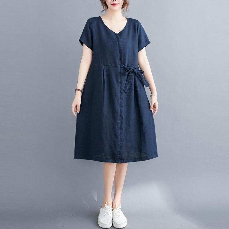 فستان نسائي من القطن والكتان ، غير رسمي ، بسيط ، ياقة على شكل v ، لون سادة ، فضفاض ، طول الركبة ، مجموعة صيف 2021 الجديدة ، S3157