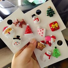 3/4PCs/Set Christmas Cartoon Badges Santa Claus Christmas tree snowman elk brooches pins Christmas decor for kids gift