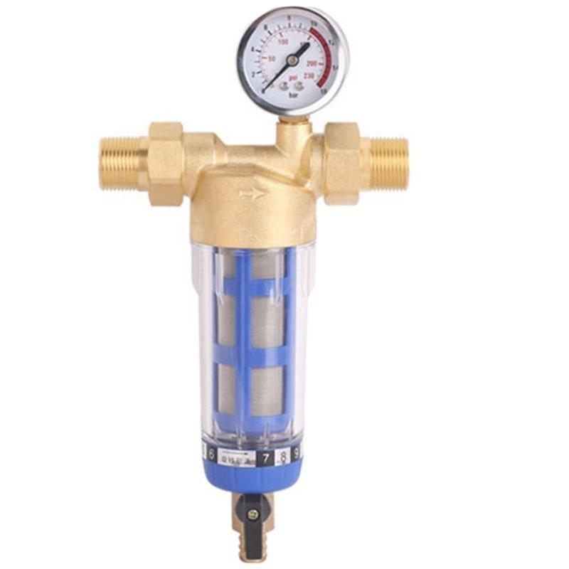 1 بوصة النحاس الغسيل العكسي قبل تصفية المنزلية مرشح مياه المنزل أنابيب منقي مياه المركزية إزالة الترسبات