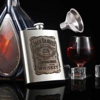 7oz stainless steel engraved hip flask vodka wine pot portable flagon funnel outdoor camping liquor flagons men christmas gift