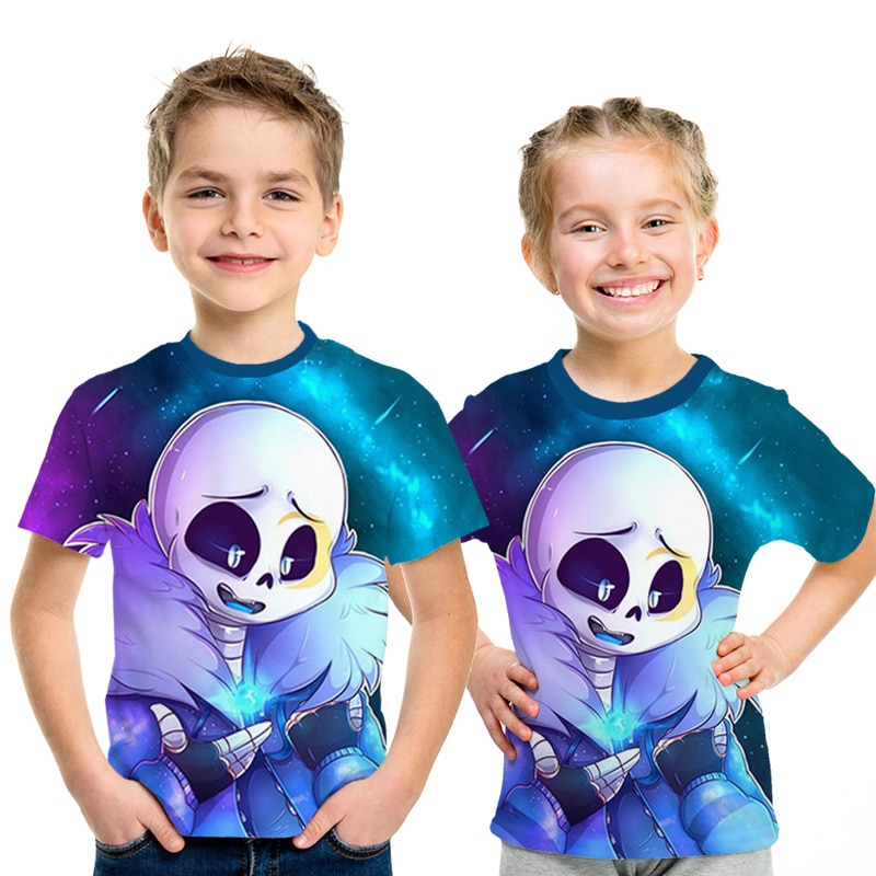 Undertale sans Anime dibujos animados camiseta 2019 verano nuevo juego niños camiseta 3D impreso manga corta niños camisetas niños Niña divertido