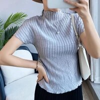 t shirt women summer 2021 new stand collar short sleeved slim stretch miyake pleated short t shirts for women 45 75kg