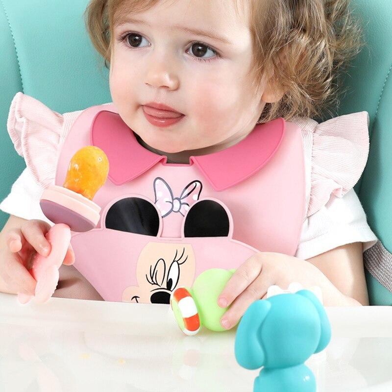Силиконовый слюнявчик для детей и младенцев Disney регулируемый водонепроницаемый слюнявчик Многофункциональный кармашек для риса складной ...