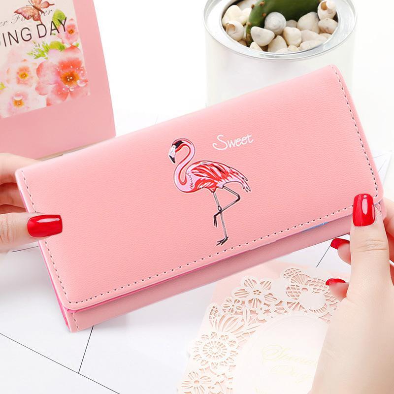 Flamencos de dibujos animados señoras monederos Cartera de cuero de las mujeres lindo carteras mujer monedero tarjeta titular bolsos de embrague cartera carteira