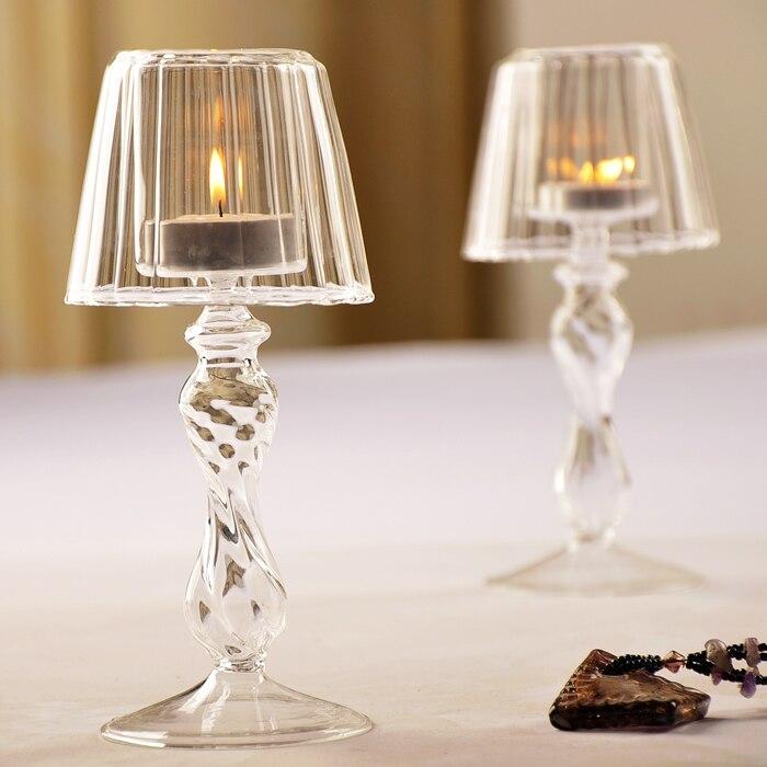 Portavelas de Cristal transparente, candelabro romántico para cena, Centro de boda, DD60ZT