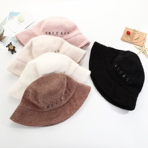 winter autumn embroider letter  bucket hat wool thick keep warm lady fashionable adjustable street wear hat clothing fitting cap