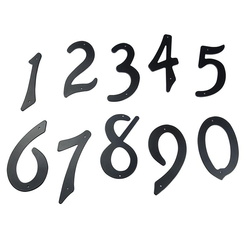 "Купить с кэшбэком Black 4"" 101mm Height House Number Door Address Number Digits Aluminum Nail Fixed Mailbox Address Sign #0-9"