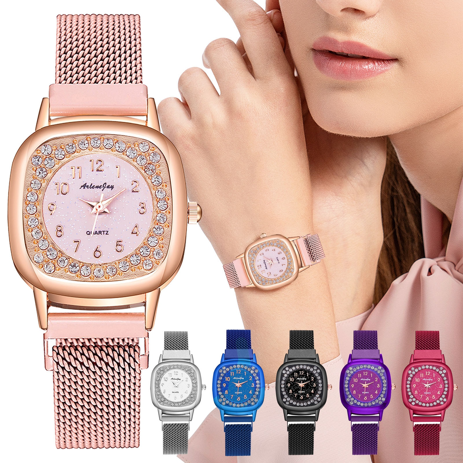 Quartz Watch Arabic Numerals Crystal Stainless Steel Band Watches for Women Wristwatch Montre Femme