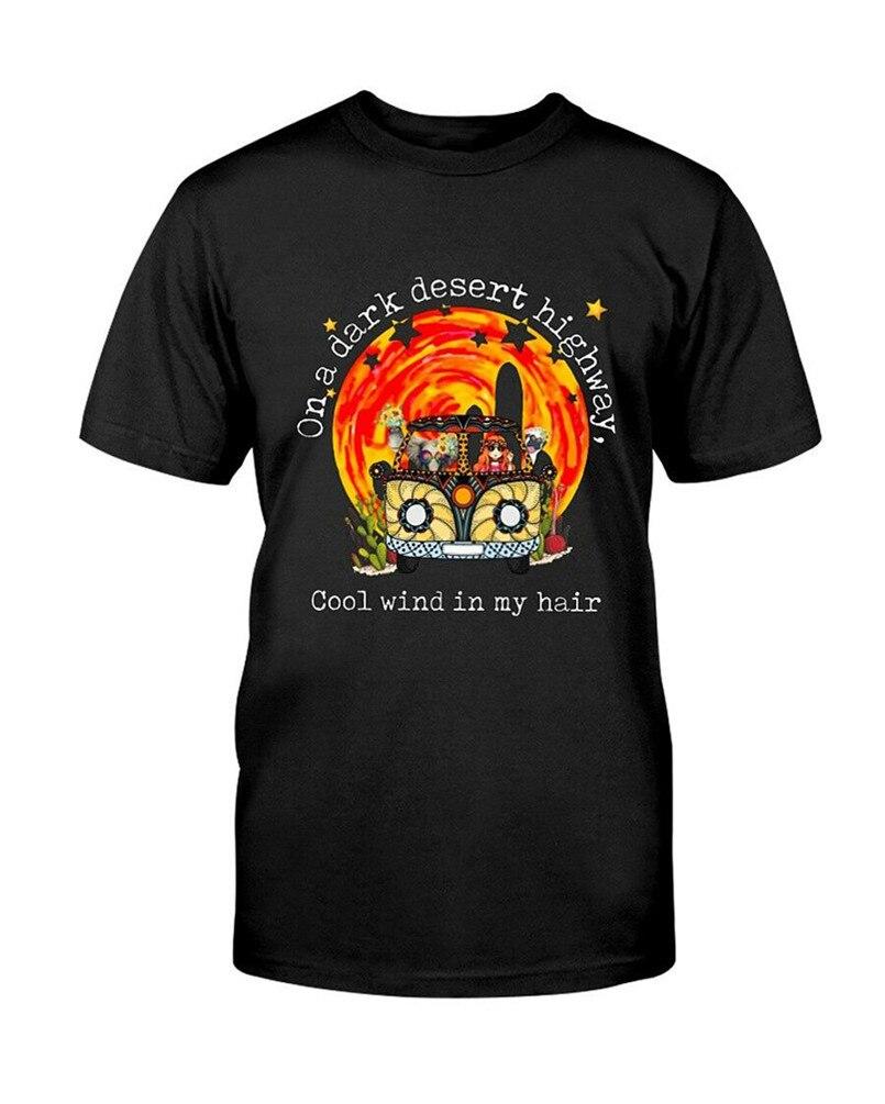 En una carretera del desierto oscuro fresco viento en mi pelo negro camiseta S-3XL ropa de impresión Camiseta estilo redondo