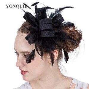Imitation Sinamay Wedding Headwear For Elegant Ladies Fascinator Hat Fancy Feathers Headdress Formal Dress Chic Handmade Hats