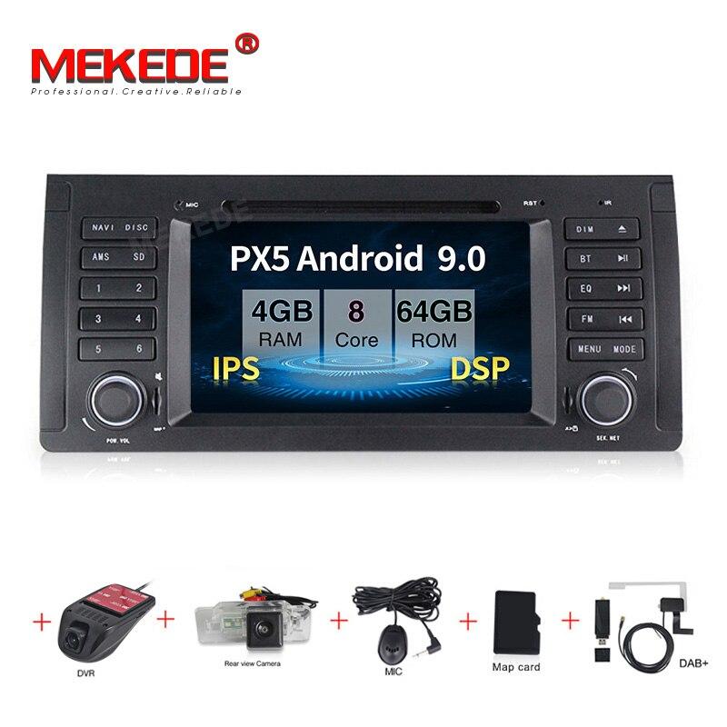 MEKEDE Android 9,0 reproductor multimedia de radio dvd para coche de 7 pulgadas para BMW X5 M5 E39 E53 video estéreo can bus control del volante + Mapa