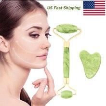 2PCS Jade Roller and Gua Sha Set Massager For Face Jade Roller Face Skin Care Tools Natural Scraper