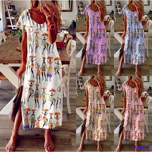 2020 feminino casual solto vestido cores verão retalhos boho arco camis befree maxi vestido plus size grandes vestidos robe femme