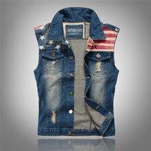 summer style Mens denim vest slim men denim Outerwear Coats Moto & Biker blue hole Sleeveless vest for men big size 4xl 5xl