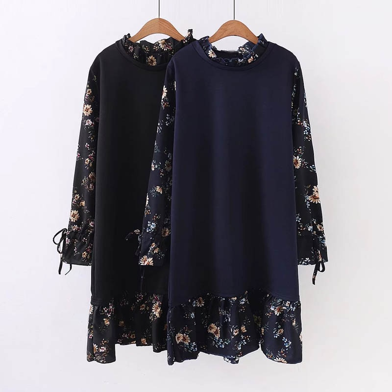 Vestido feminino de chiffon e preto, cores marinhas, tamanho grande, 126-136cm, 6xl, 7xl, 8xl, primavera e outono