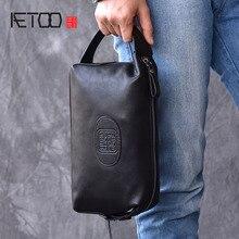 AETOO Retro trend models Chinese style men's leather handbag leather handbag large capacity hand bag