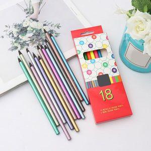 12Pcs Metallic Non-Toxic Colored Pencils+6 Fluorescent Color Pencils for Drawing Colored Pencils