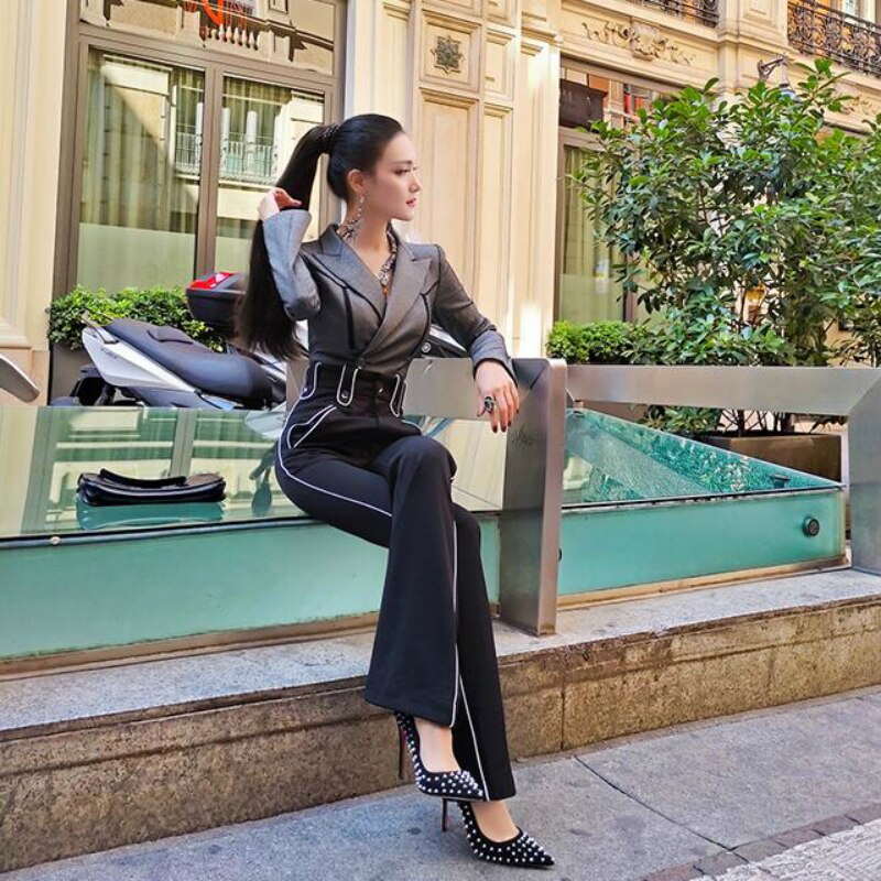 2020 new spring and autumn Fashion casual office lady brand female women ladies girls full sleeve jumpsuit clothing