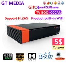 Europa CCCAM 1 Jahre 7 linien Service GT MEDIA S2 V8 Nova HD H.265 Satellite Empfänger Gebaut in WIFI power unterstützung YouTube Dolby