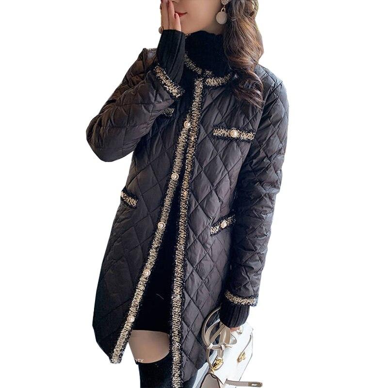 Женская Стеганая куртка на пуговицах, элегантная Легкая длинная теплая куртка с круглым вырезом и кисточками, черная стеганая куртка в стил...