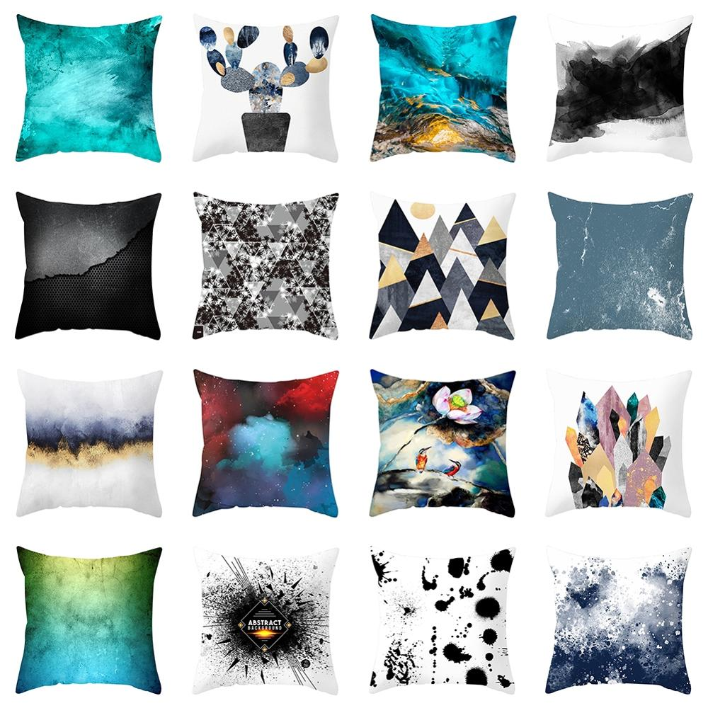 Pillow Cushion Cover Abstract Pattern Peach Skin Square Pillowcase Bedroom Living Room Home Decoration Pillowcase stylish seabed landscape fish pattern square shape flax pillowcase without pillow inner