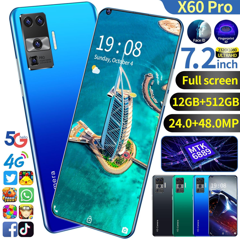 X60 برو 7.2 بوصة رخيصة Andriod الهاتف 5600mah المزدوج سيم بصمة فتح 12 + 512gb Andriod هاتف ذكي Mtk6889