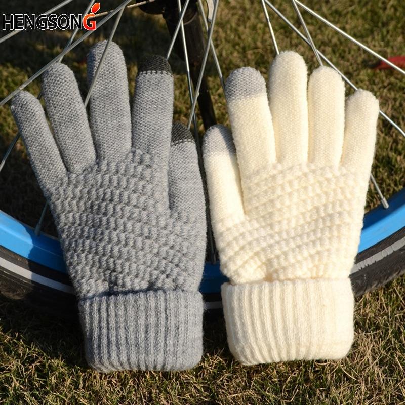 Women Keep Warm Winter Knitted Full Finger Sports Gloves Girl Climbing Cycling Gloves Screen Luvas M