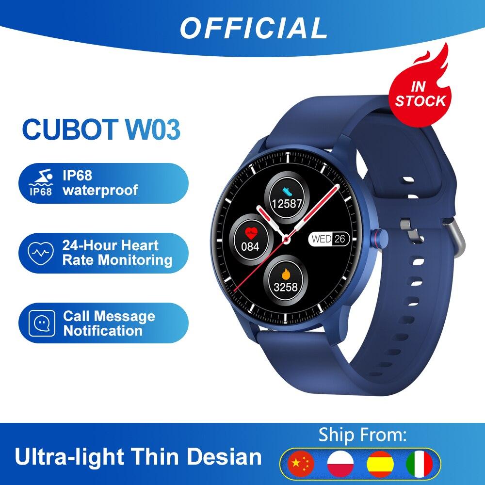Cubot W03 IP68Waterproof SmartWatch Heart Rate Calorie Monitor Fitness Tracker Clock Android IOS Sport Smart Watch for Men Women
