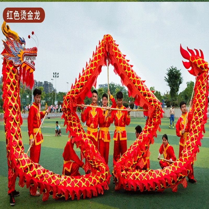 13m Red Golden Length Dragon Dance Costume 10 Players Children Student School  Art Halloween Party Performance Parade Folk Stage