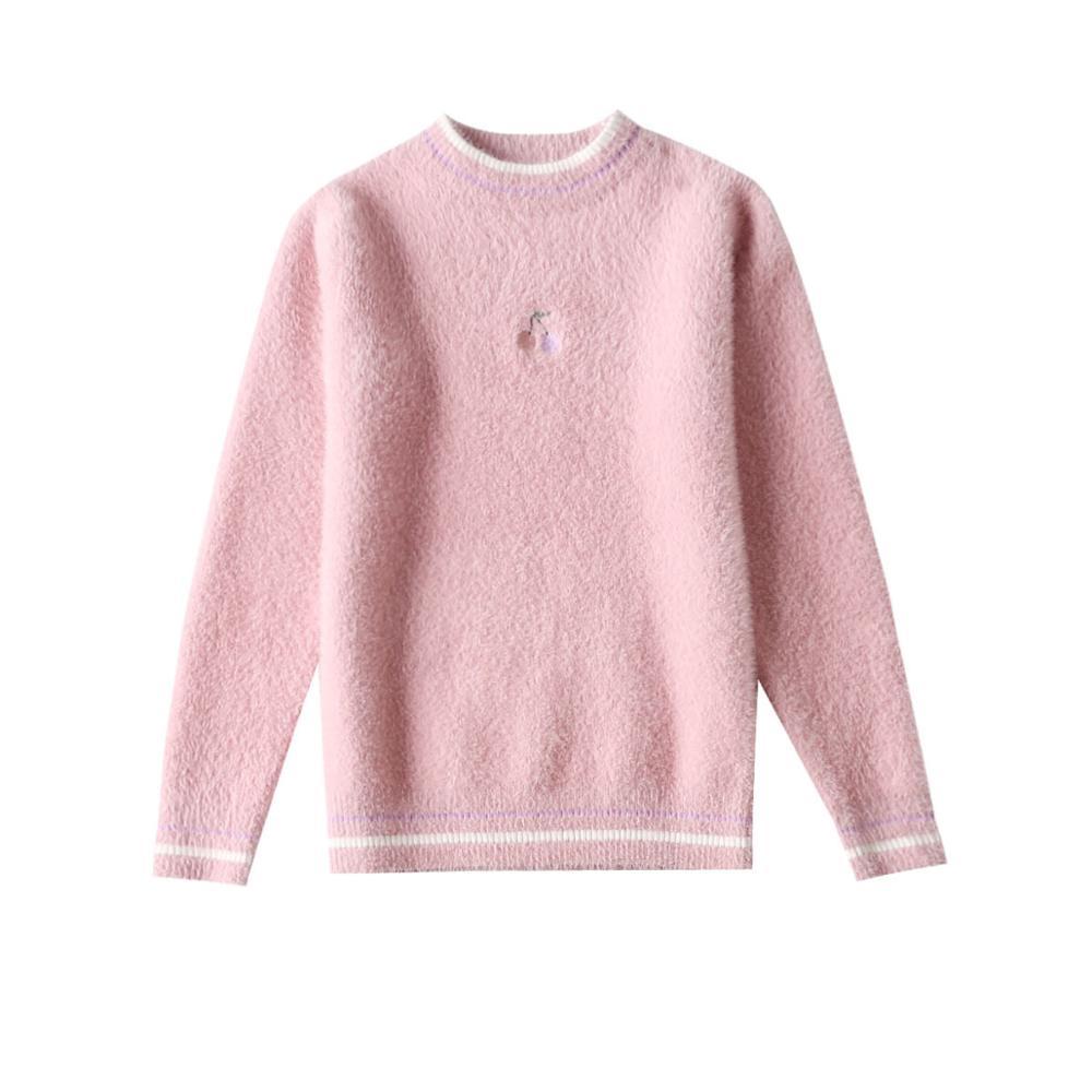 4-16 Years Children Girls Sweaters Pullover Mink Wool O-Neck Knitted Sweater Girl Knitwear Kids Winter Base Shirt