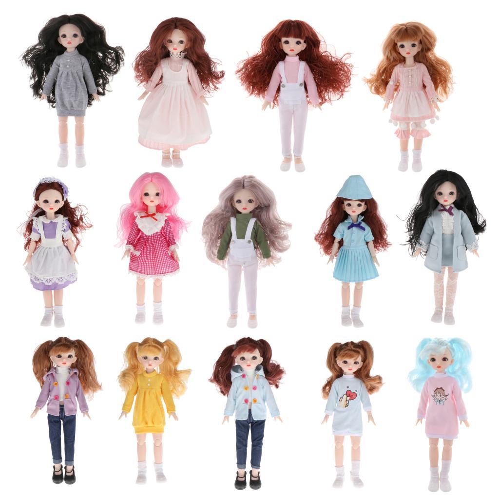 30cm 16 articulações flexíveis bjd menina boneca cabelo longo bonito dressup crianças fingir brincar brinquedo, melhor brinquedo ou presente para meninas