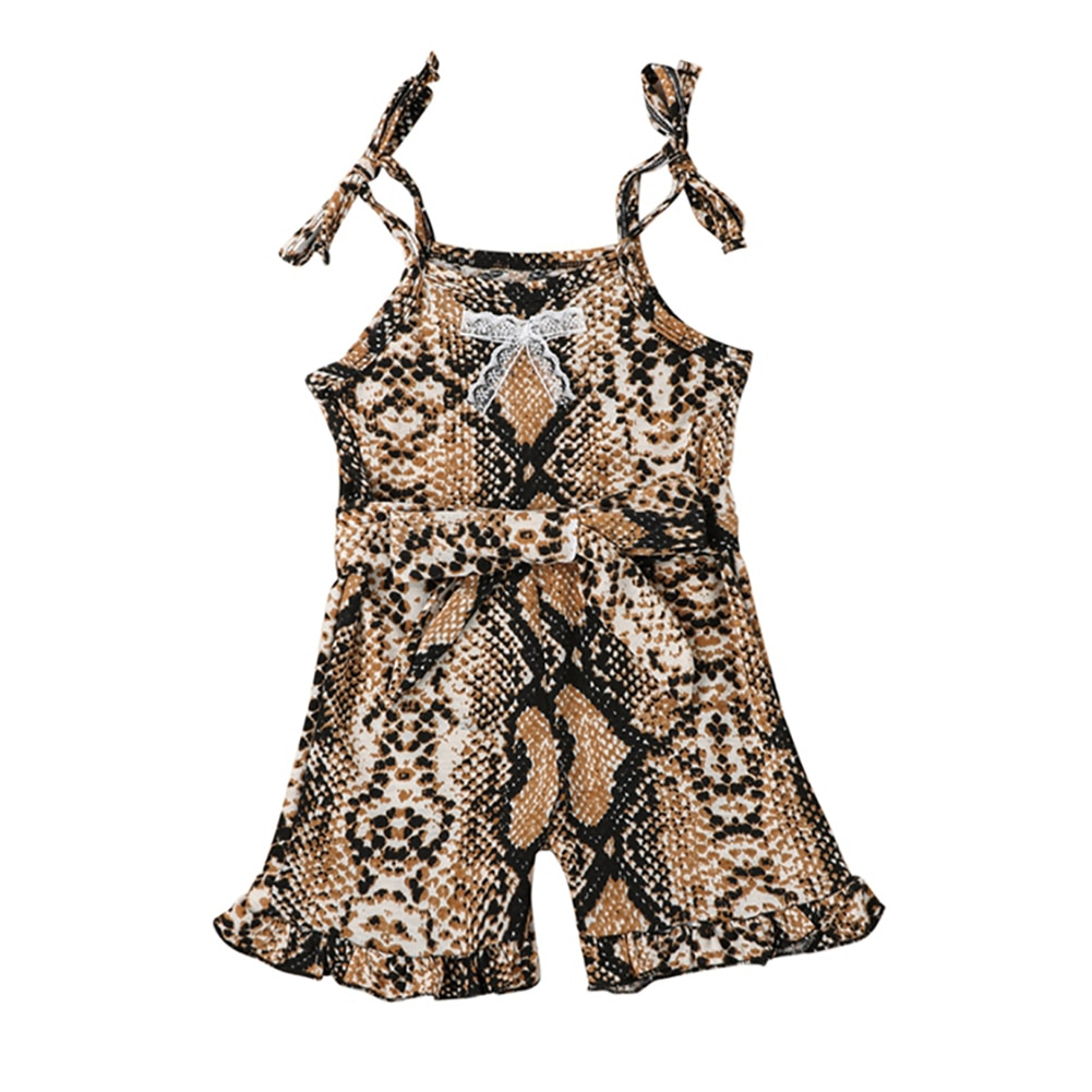 Baby & children's Girl's Snake Skin Pattern Jumpsuit Sleeveless Flared Pants Lace-up Sling Bodysui