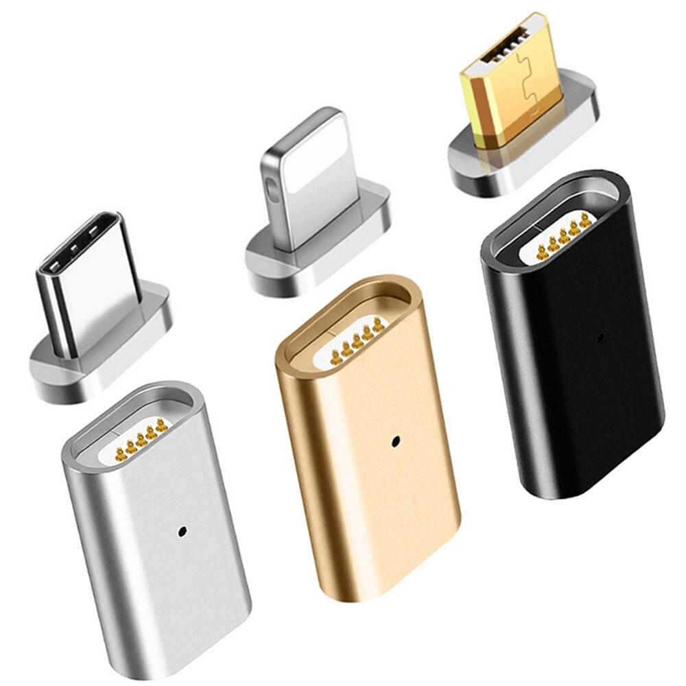 Para la iluminación de 3,5mm magnético adaptador Micro USB hembra a tipo C Micro conector macho convertidor de datos Android adaptador de teléfono